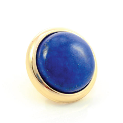 LAPIS LAZULI Gemstone, Wisdom, Courage, Power, Medium Gold-Plated Stud