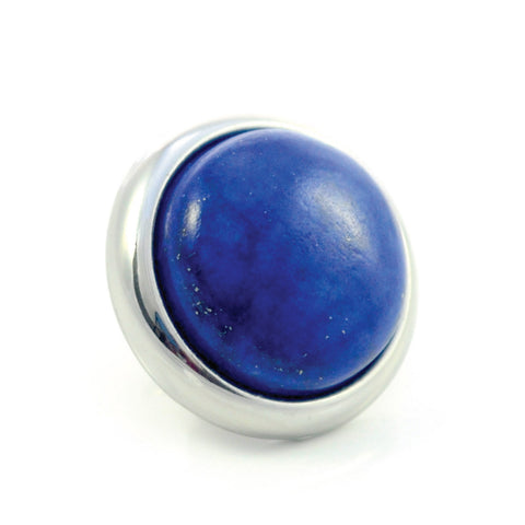 LAPIS LAZULI Gemstone, Wisdom, Courage, Power, Medium Silver-Plated Stud