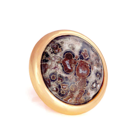 Gemstone Stud for Leather Dog Collars - Leopardskin Jasper