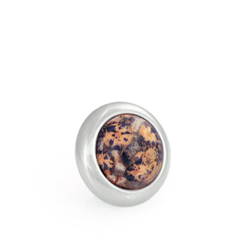 Divine Dog Gemstone Stud for Leather Dog Collars - Leopardskin Jasper