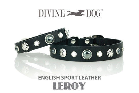 Luxury Divine Dog Collars Leather with Healing Gemstones - Leroy Collection