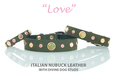 Leather Dog Collar with Gemstones