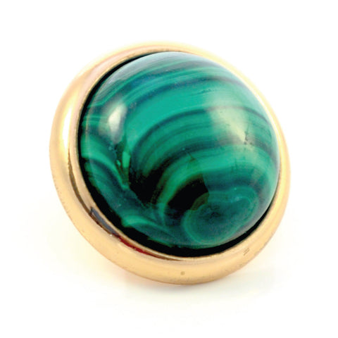MALACHITE Gemstone, Love, Strength, Inspiration, Large Gold-Plated Stud