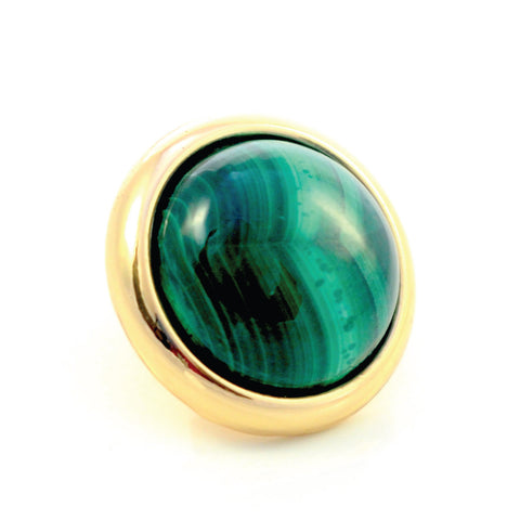 MALACHITE Gemstone, Love, Strength, Inspiration, Medium Gold-Plated Stud