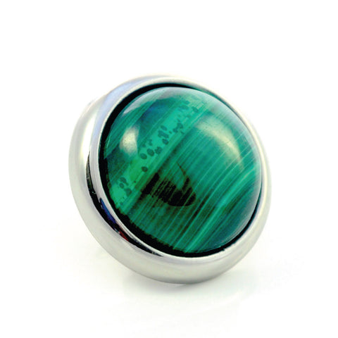 MALACHITE Gemstone, Love, Strength, Inspiration, Medium Silver-Plated Stud
