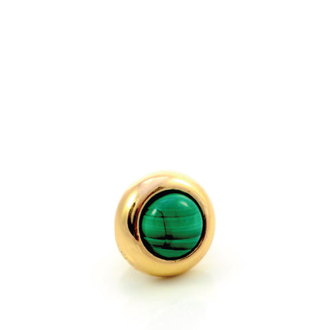 MALACHITE Gemstone, Love, Strength, Inspiration, Mini Gold-Plated Stud