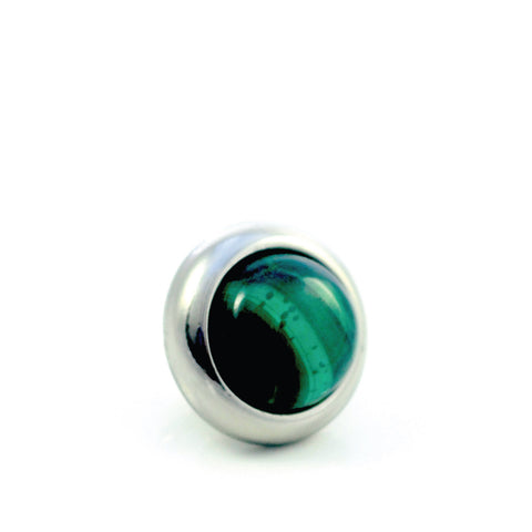 MALACHITE Gemstone, Love, Strength, Inspiration, Small Silver-Plated Stud