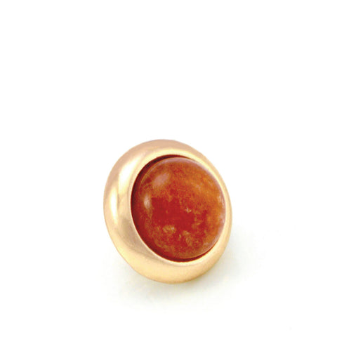 ORANGE AVENTURINE Gemstone, Inner Harmony, Luck, Opportunity, Small Gold-Plated Stud