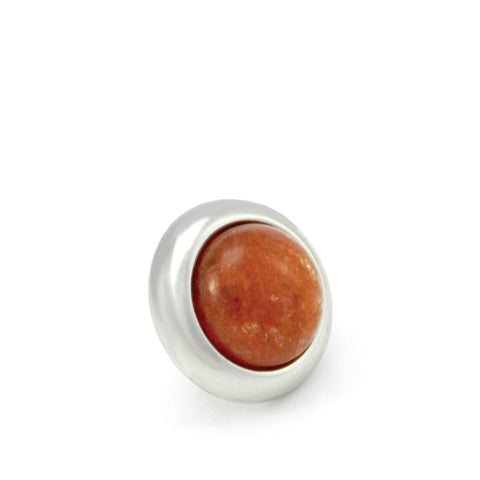 ORANGE AVENTURINE Gemstone, Inner Harmony, Luck, Opportunity, Small Silver-Plated Stud