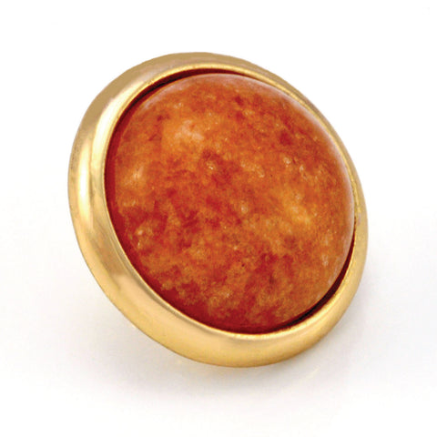 ORANGE AVENTURINE Gemstone, Inner Harmony, Luck, Opportunity, Large Gold-Plated Stud