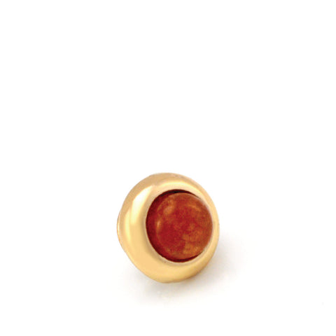 ORANGE AVENTURINE Gemstone, Inner Harmony, Luck, Opportunity, Mini Gold-Plated Stud