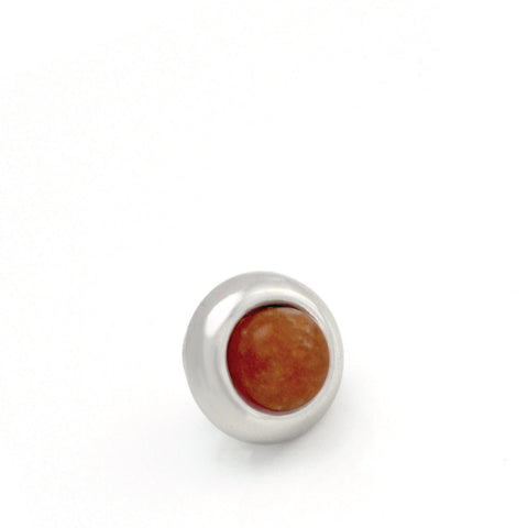 ORANGE AVENTURINE Gemstone, Inner Harmony, Luck, Opportunity, Mini Silver-Plated Stud