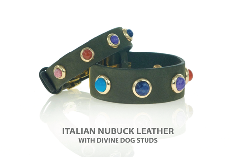 Leather Owner Bracelets with a Rainbow of Gemstone Studs.