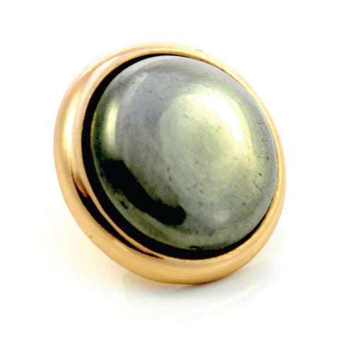 PYRITE Gemstone, Luck, Abundance, Prosperity, Large Gold-Plated Stud