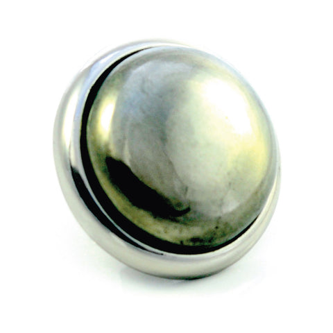 PYRITE Gemstone, Luck, Abundance, Prosperity, Large Silver-Plated Stud