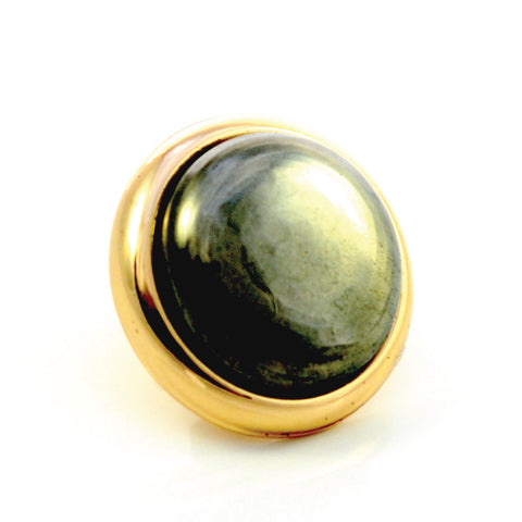 PYRITE Gemstone, Luck, Abundance, Prosperity, Medium Gold-Plated Stud