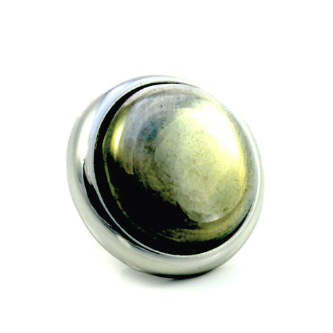 PYRITE Gemstone, Luck, Abundance, Prosperity, Medium Silver-Plated Stud