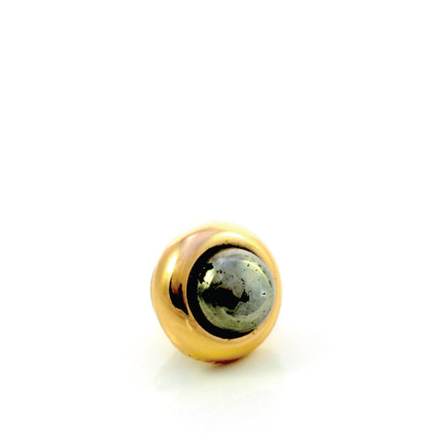 PYRITE Gemstone, Luck, Abundance, Prosperity, Mini Gold-Plated Stud