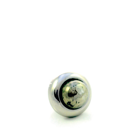 PYRITE Gemstone, Luck, Abundance, Prosperity, Mini Silver-Plated Stud