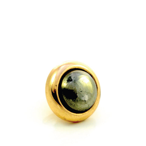 PYRITE Gemstone, Luck, Abundance, Prosperity, Small Gold-Plated Stud