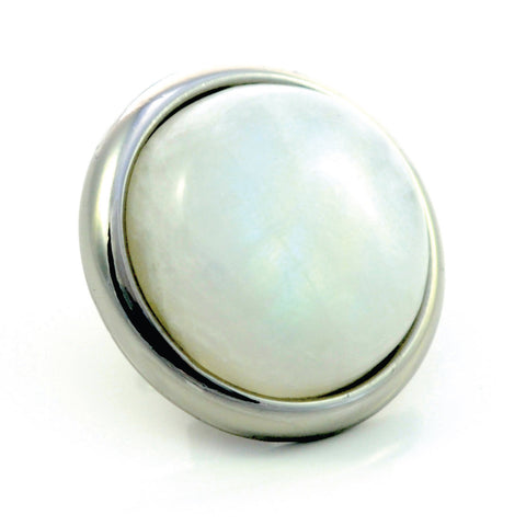 RAINBOW MOONSTONE Gemstone, Spiritual Balance, Happiness, Composure, Large Silver-Plated Stud