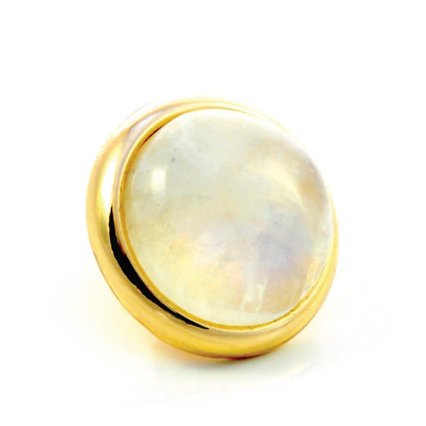 RAINBOW MOONSTONE Gemstone, Spiritual Balance, Happiness, Composure, Medium Gold-Plated Stud