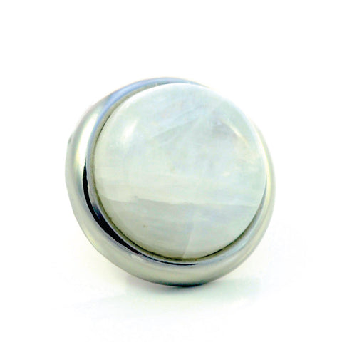 RAINBOW MOONSTONE Gemstone, Spiritual Balance, Happiness, Composure, Medium Silver-Plated Stud