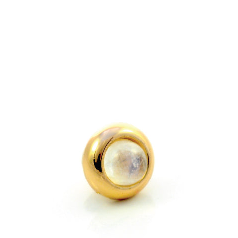 RAINBOW MOONSTONE Gemstone, Spiritual Balance, Happiness, Composure, Mini Gold-Plated Stud