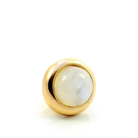 RAINBOW MOONSTONE Gemstone, Spiritual Balance, Happiness, Composure, Small Gold-Plated Stud