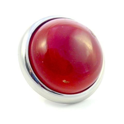 RED AGATE Gemstone, Luck, Courage, Strength, Large Silver-Plated Stud
