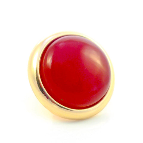 RED AGATE Gemstone, Luck, Courage, Strength, Medium Gold-Plated Stud