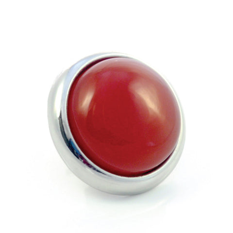 RED AGATE Gemstone, Luck, Courage, Strength, Medium Silver-Plated Stud