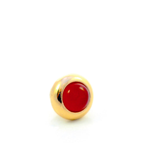 RED AGATE Gemstone, Luck, Courage, Strength, Mini Gold-Plated Stud