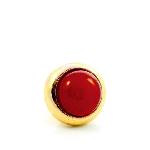 RED AGATE Gemstone, Luck, Courage, Strength, Small Gold-Plated Stud