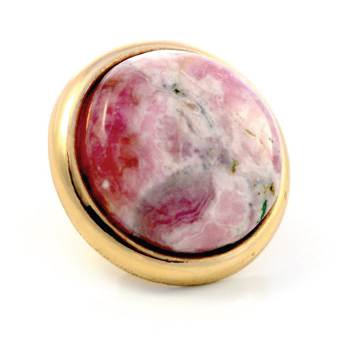 RHODOCHROSITE Gemstone, Self Worth, Joy and Sublime Happiness, Large Gold-Plated Stud