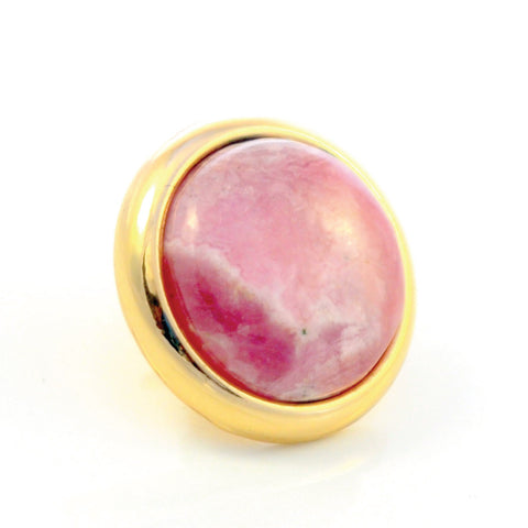 RHODOCHROSITE Gemstone, Self Worth, Joy and Sublime Happiness, Medium Gold-Plated Stud