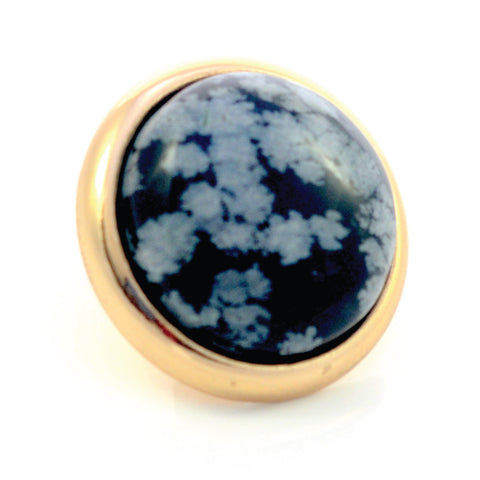 SNOWFLAKE OBSIDIAN Gemstone, Serenity and Purity, Large Gold-Plated Stud