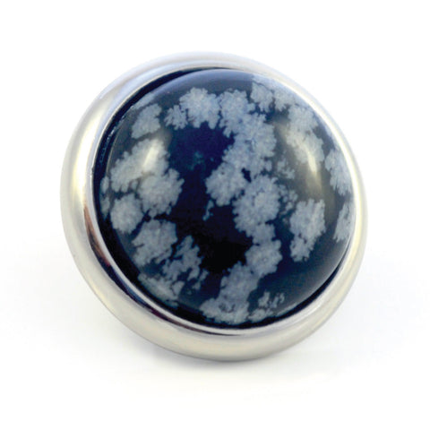 SNOWFLAKE OBSIDIAN Gemstone, Serenity and Purity, Large Silver-Plated Stud