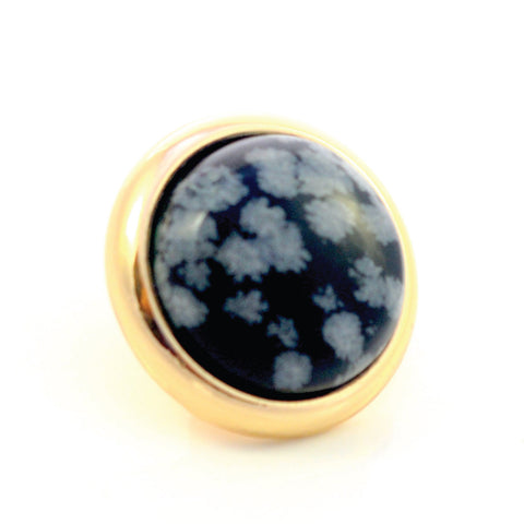 SNOWFLAKE OBSIDIAN Gemstone, Serenity and Purity, Medium Gold-Plated Stud