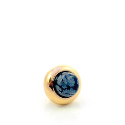 SNOWFLAKE OBSIDIAN Gemstone, Serenity and Purity, Mini Gold-Plated Stud
