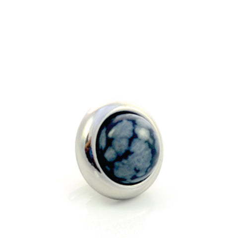 SNOWFLAKE OBSIDIAN Gemstone, Serenity and Purity, Small Silver-Plated Stud