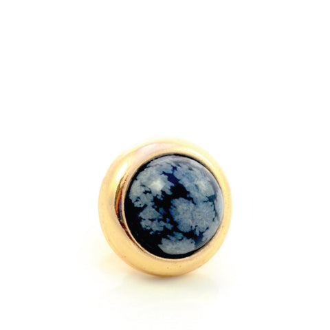 SNOWFLAKE OBSIDIAN Gemstone, Serenity and Purity, Small Gold-Plated Stud