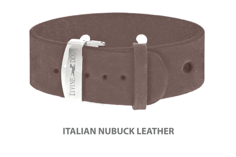 Divine Dog Bracelet, Wide, Nubuck Ashford Grey-Silver 1 inch Wide (24mm), Adjustable Length