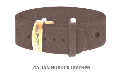 Divine Dog Bracelet, Wide, Nubuck Ashford Grey-Gold 1 inch Wide (24mm), Adjustable Length