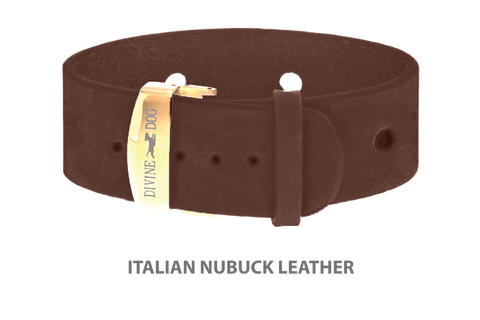 Divine Dog Bracelet, Wide, Nubuck Mocha-Gold 1 inch Wide (24mm), Adjustable Length