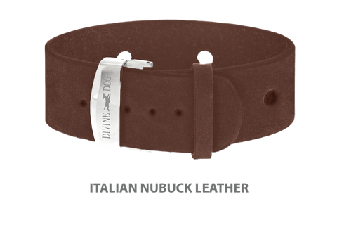 Divine Dog Bracelet, Wide, Nubuck Mocha-Silver 1 inch Wide (24mm), Adjustable Length