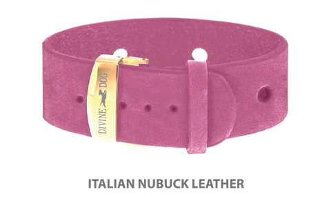Divine Dog Bracelet, Wide, Nubuck Perfect Pink-Gold 1 inch Wide (24mm), Adjustable Length