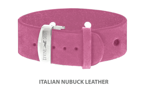Divine Dog Bracelet, Wide, Nubuck Perfect Pink-Silver 1 inch Wide (24mm), Adjustable Length