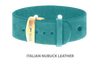Divine Dog Bracelet, Wide, Nubuck Turquoise-Gold 1 inch Wide (24mm), Adjustable Length