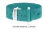 Divine Dog Bracelet, Wide, Nubuck Turquoise-Silver 1 inch Wide (24mm), Adjustable Length